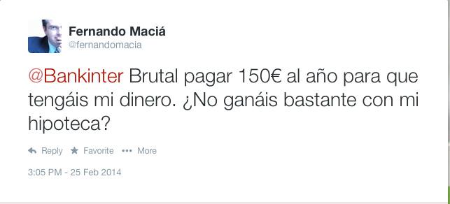 Tweet sobre comisiones abusivas de Bankinter