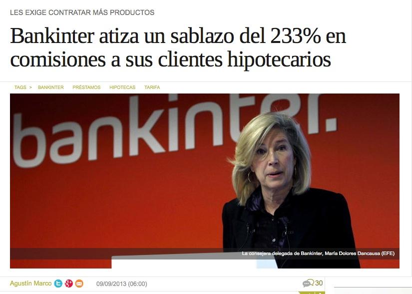 Bankinter atiza un sablazo a sus clientes hipotecarios